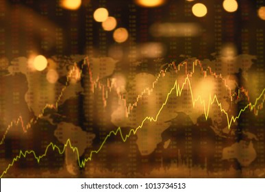 finance investment concept. up trend line graph stock market and bar chart volume trading with index gold market.