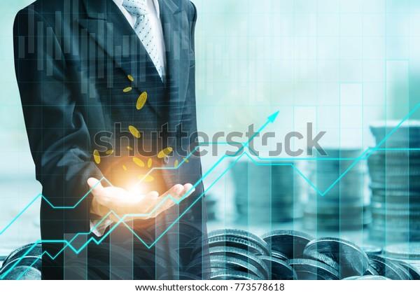Concepto financiero e inversión.Gestión monetaria y gráfico financiero.Inversión en exposición doble