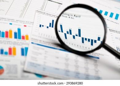 Finance, Magnifying Glass, Stock Market.