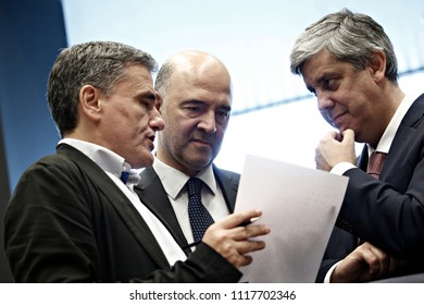 Finance Minister of Greece Euclid Tsakalotos Eurogroup finance ministers meeting at the EU headquarters at the Kirchberg Conference Centre in Luxembourg on Jun. 21, 2018