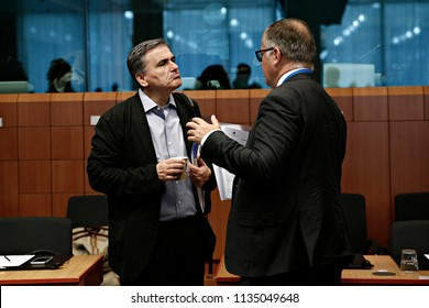 Finance Minister of Greece Euclid Tsakalotos attends in Eurogroup finance ministers meeting at the EU headquarters in Brussels, Belgium on Jul. 12, 2018