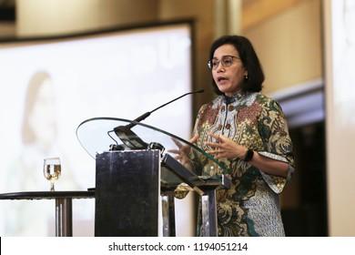 Finance Minister of Indonesia Mrs. Sri Mulyani Indrawati in Speech in Jakarta October 2018