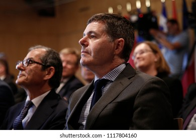 Finance Minister of Ireland Paschal Donohoe  attends in 20th anniversary of Eurogroup at Castle of Senningen in Luxembourg on Jun. 21, 2018
