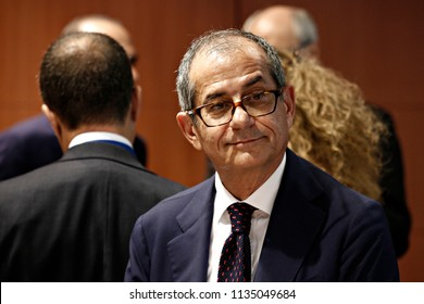 Finance Minister of Italy  Giovanni Tria  attends in Eurogroup finance ministers meeting at the EU headquarters in Brussels, Belgium on Jul. 12, 2018