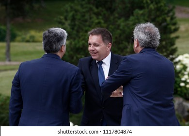 Finance Minister of Slovakia Peter Kazimir arrives to attend in 20th anniversary of Eurogroup at Castle of Senningen in Luxembourg on Jun. 21, 2018