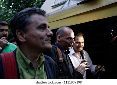 Finance Minister Yanis Varoufakis and head negotiator with lenders Euclid Tsakalotos make their way past parliament as they head to Prime Minister Alexis Tsipras' office in Athens,Greece June 28, 2015