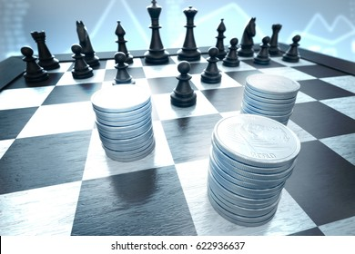 Finance: Money stacks attacked by black chess pieces on a blue background