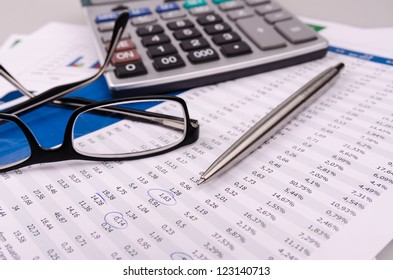 Finance, numerals and charts
