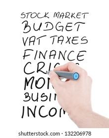 Finance oriented signs written on a white board