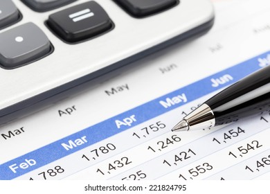 Finance report analysis with pen, and calculator