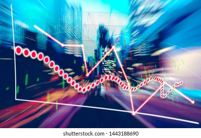 Finance Stock market with abstract light trials background. Index graph chart