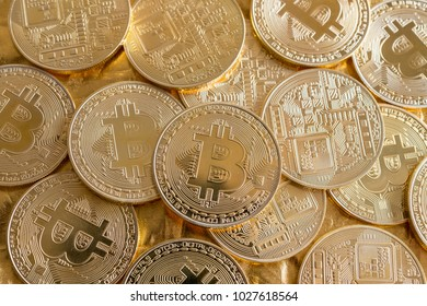 Finance, technology concept:Close up bitcoin token on table. Bitcoin is a cryptocurrency and worldwide payment system, first decentralized digital currency, as the system works without a central bank.