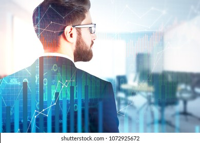 Finance and trade concept. Businessman on abstract city background with forex chart. Double exposure