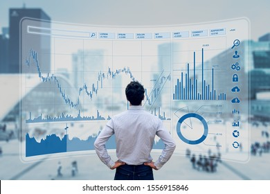 Finance trade manager analysing stock market indicators for best investment strategy, financial data and charts with business buildings in background
