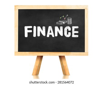 Finance word on blackboard with easel isolated on white background with Clipping path at object,Banking concept