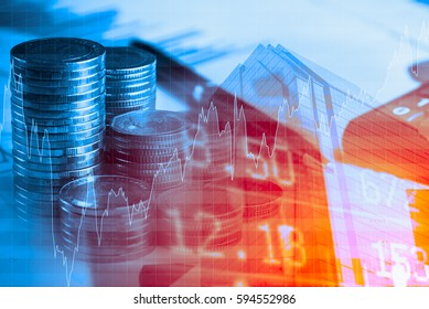 Finance,business and banking concept.Double exposure of money,graph, stock chart, pen and city.