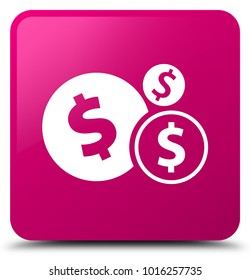 Finances dollar sign icon isolated on pink square button abstract illustration