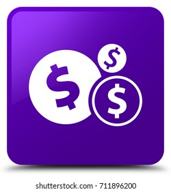 Finances dollar sign icon isolated on purple square button abstract illustration