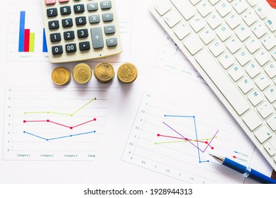 financial accounting analytics document report paperwork progress growth graph with money and chart on table with pen keyboard and calculator work for business planning.