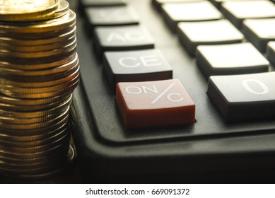 Financial accounting, money calculator on table