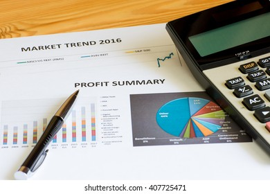 Financial accounting profit summary graphs analysis