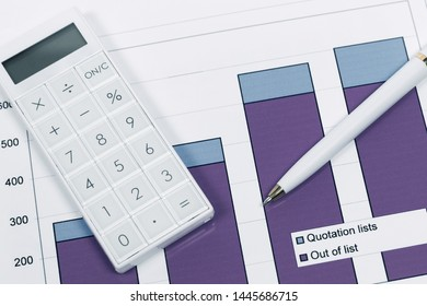 Financial accounting stock market graphs and charts pen and calculator