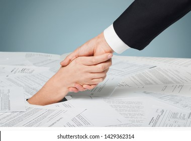 Financial Aid concept, hand holds hand and financial docement