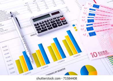 Financial Analysis with charts and data  of progress in industry  with the European currency