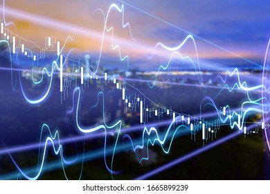 Financial and analysis graph on night city background