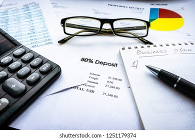 Financial analysis - income statement, business plan with glass
