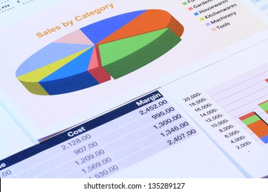 Financial analysis with pie and bar graph.