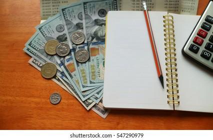 Financial analytics: money, coin, cash, calculator and bank book