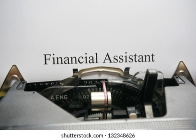 Financial assistant concept on typrewriter