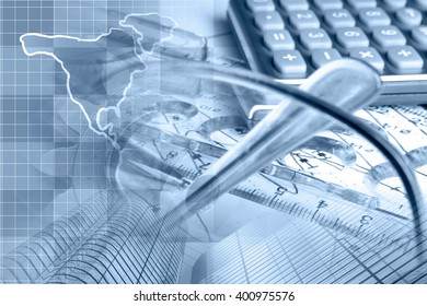 Financial background in blues with map, calculator, graph, glasses and pen.