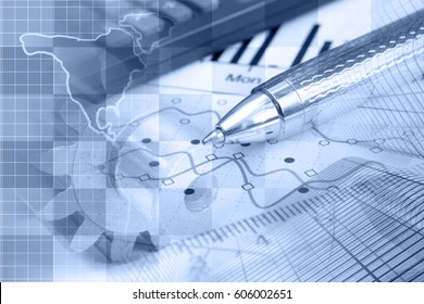 Financial background in blues with map, calculator, graph and pen.