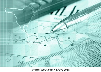 Financial background in greens with map, buildings, calculator, table and pen.