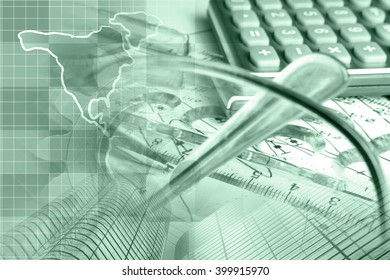 Financial background in greens with map, calculator, graph, glasses and pen.