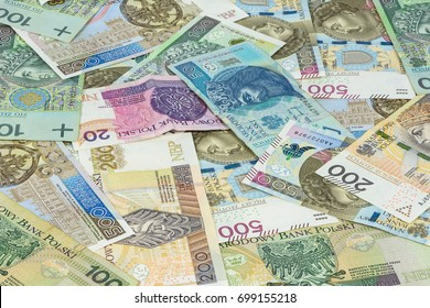 Financial background made of different polish zloty banknotes