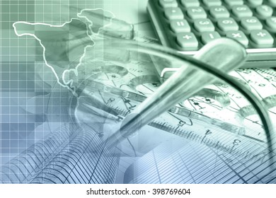 Financial background with map, calculator, graph, glasses and pen, in greens and blues.