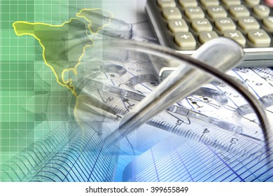 Financial background with map, calculator, graph, glasses and pen.
