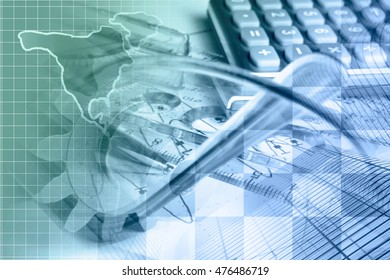 Financial background with map, calculator, graph, gear and buildings, in greens and blues.