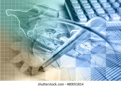 Financial background with map, calculator, graph, gear and buildings, toned.