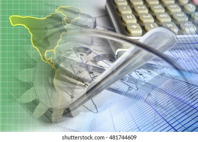 Financial background with map, calculator, graph and pen.