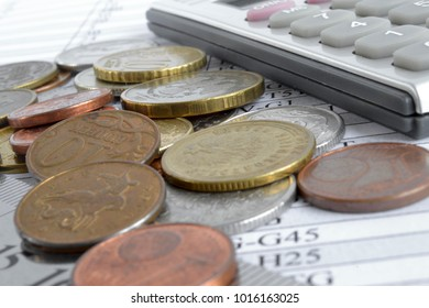Financial background with money, calculator and table.