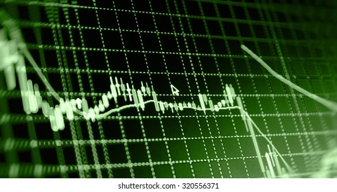 Financial background.Stock market graph and bar chart price display. Data on live computer screen. Display of quotes pricing graph visualization. Abstract financial background trade colorful