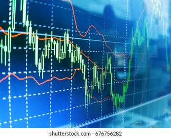Financial or business background of financial data on the monitor with plotted graph, candle stick and trend in soft focus