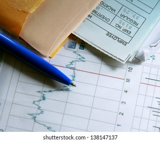 financial and business color charts and graphs on the table