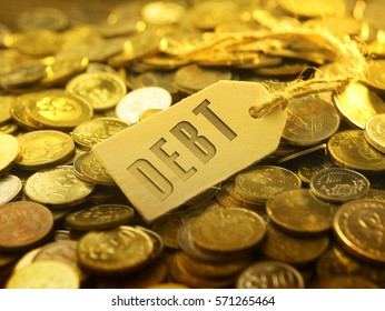 financial or business concept ,coin with tag debt