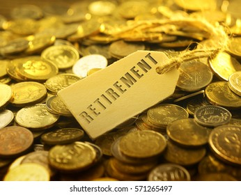 financial or business concept ,coin with tag retirement