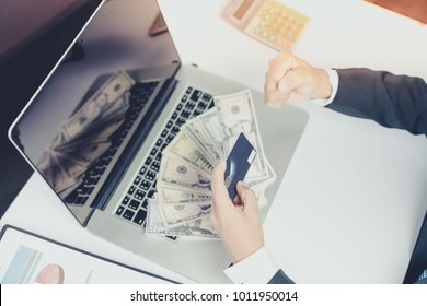 Financial business concept , Make money from internet shopping online by computer laptop
